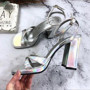 Vintage Fioni holographic square toe disco heels